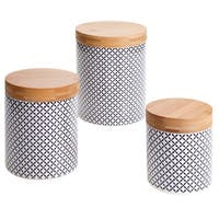 Certified International Chelsea Red Floral Lattice 3-piece Canister Set with Bamboo Lids