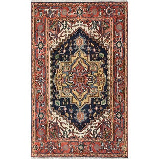 ecarpetgallery Hand-Knotted Serapi Heritage Blue, Brown Wool Rug (3'9 x 6'2)