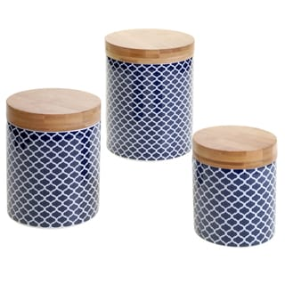 Certified International Chelsea Indigo Quatrefoil 3-piece Canister Set with Bamboo Lids