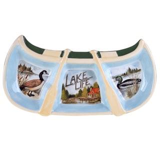Certified International Lake Life 3-section Canoe Relish Tray