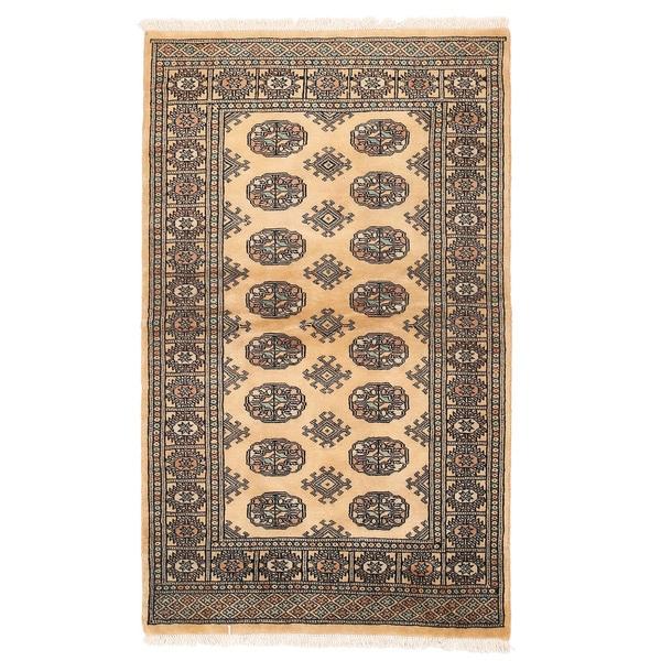 Handmade Herat Oriental Pakistani Bokhara Wool Rug - 3'2 x 5'1 (Pakistan)