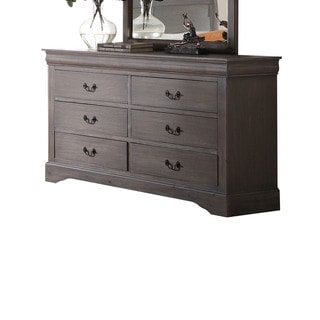 Louis Philippe III Antique Grey 6-drawer Dresser