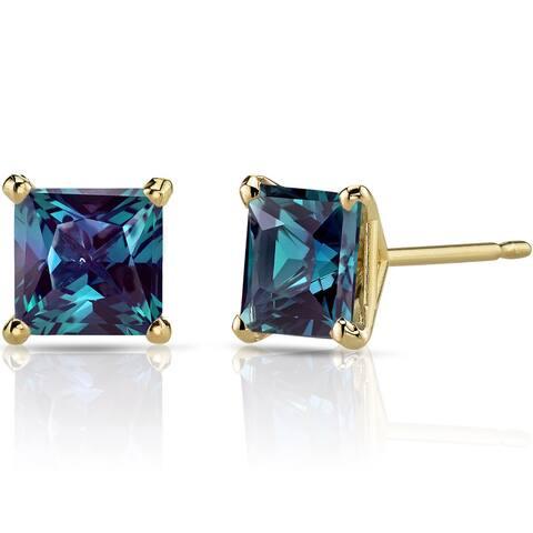 Oravo 14k Yellow Gold 2 1/2ct TGW Created Alexandrite Princess-cut Stud Earrings
