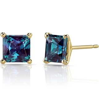 Oravo 14k Yellow Gold 2 1/2ct TGW Created Alexandrite Princess-cut Stud Earrings