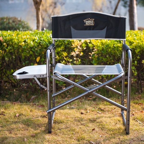 TimberRidge Aluminum Portable Director's Folding Chair With Side Table