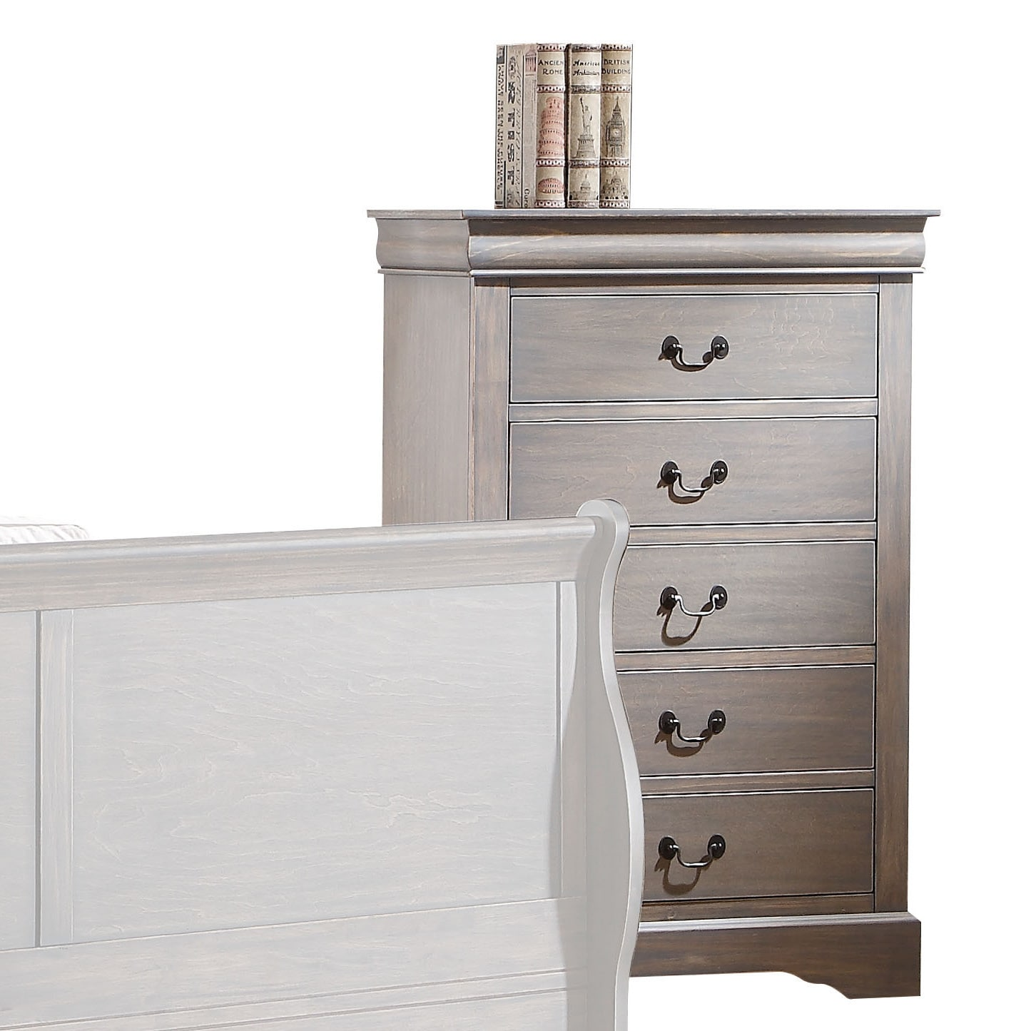 ACME Louis Philippe III Antique Grey 5-Drawer Chest (Ches...