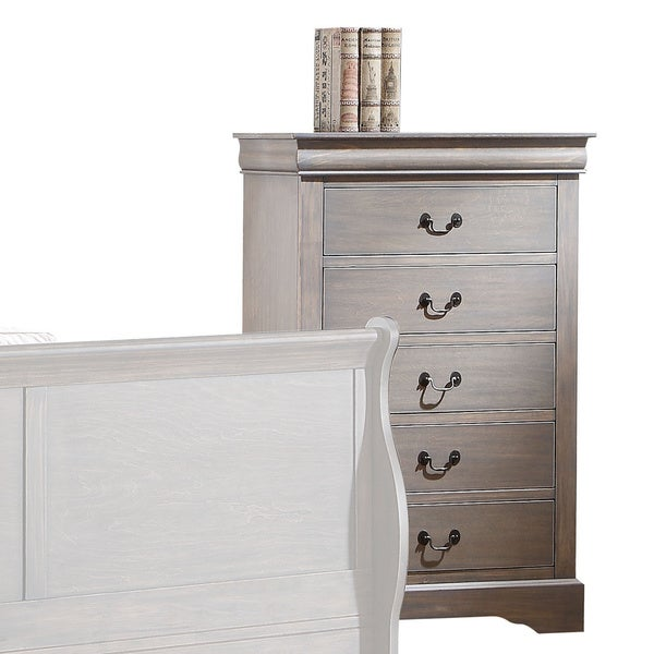 Louis Philippe Iii Antique Grey 5 Drawer Chest