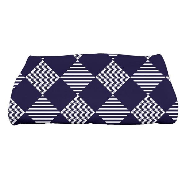 28 x 58-inch, Check It Twice, Geometric Print Bath Towel
