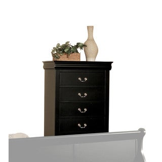 Louis Philippe III Black 5-Drawer Chest