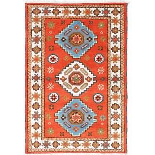 ecarpetgallery Hand-Knotted Royal Kazak Brown Wool Rug (4'0 x 5'11)