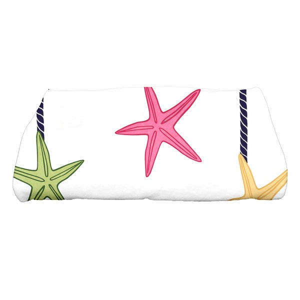 28 x 58-inch, Starfish Ornaments, Geometric Print Bath Towel