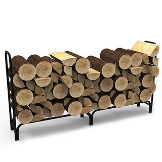 Gibson Living Black 8' Shelter Home Indoor Firewood Log Rack