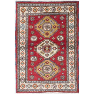 ecarpetgallery Hand-Knotted Royal Kazak Blue, Red Wool Rug (4'0 x 5'11)