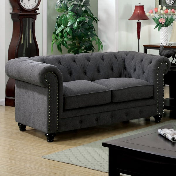 Furniture of America Staffers Traditional Deep Tufted Tuxedo Style Loveseat