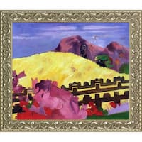 Paul Gauguin 'The Sacred Mountain' Hand Painted Framed Canvas Art