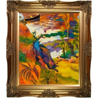 Paul Gauguin 'Fisherman and Bathers on The Aven' Hand Painted Framed Canvas Art