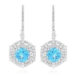 Luxurman Unique Blue Topaz Diamond Drop Earrings for Women in 14k Gold (G-H; VS1-VS2)