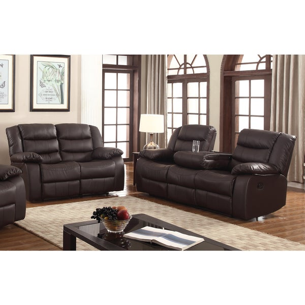 Gloria faux leather 2 piece reclining living room set free shipping today overstock 19163408 2 piece leather living room set