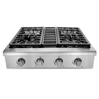 Stainless Steel 30-inch Professional Gas Rangetop with 4 Sealed Burners, Porcelain-Coated Drip Pans