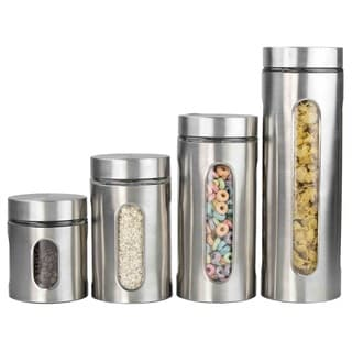 Home Basics 4-piece Glass Canister Cylinder Set with Clear Window