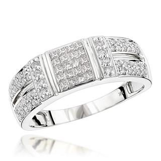 Luxurman 14K Gold Diamond Ring w Round Princess Diamonds 0.85ct (H-I; SI2-SI3)