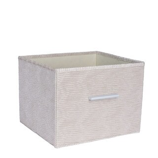Household Essentials Tan Fabric/Aluminum Handle Premium Open Storage Bin