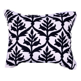 Black/White 18-inch Embroidered Throw Pillow