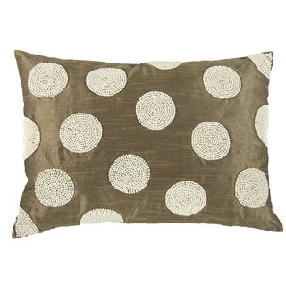 Brown Poly Silk 14-inch x 20-inch Faux Pearl Embellished Throw Pillow