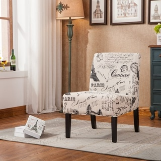 Goodale Oversized Paris-Themed Linen Upholstered Accent Chair