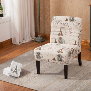 Silver Orchid Blythe Script Linen Armless Oversized Accent Slipper Chair