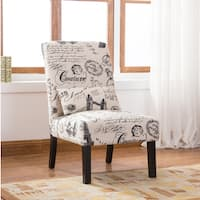 Porch & Den Botanical Heights Shaw Script Linen Print Upholstered Accent Chair with Pillow