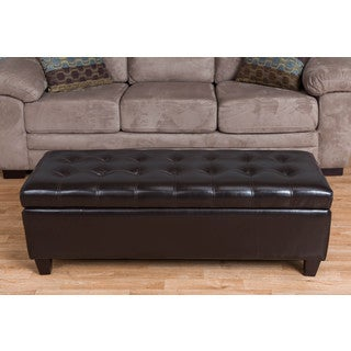 Somette Loretto Espresso Bonded Leather Storage Ottoman Bench