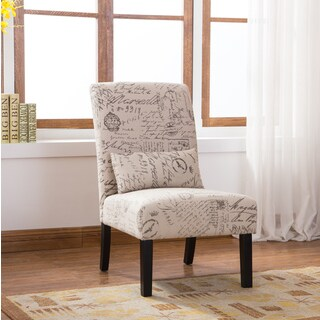 Pisano English Letter Print Fabric Armless Contemporary Accent Chair with Matching Pillow