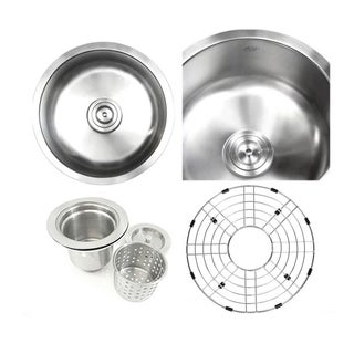 Ariel Pearl Satin 17-inch Premium 16-gauge Round Stainless Steel Undermount Single Bowl Island/Bar/Kitchen Sink