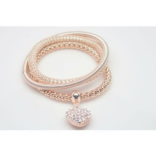 18k Rose Gold Overlay Crystal Popcorn Triple Heart Bracelet