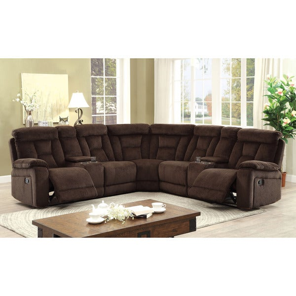 Elegant Furniture Of America Bristone Chenille Upholstered L Shaped Sectional