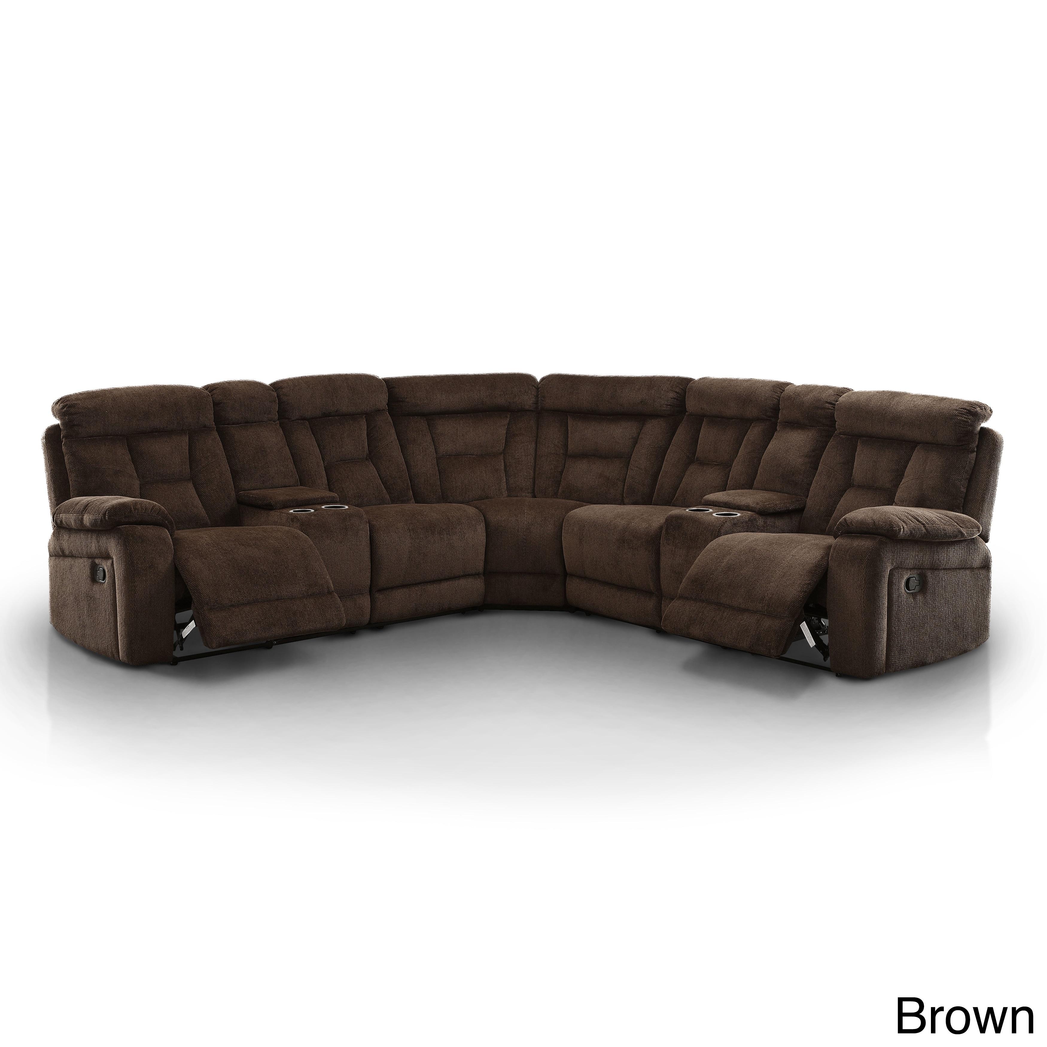 Furniture of America Bristone Chenille Upholstered L-Shap...