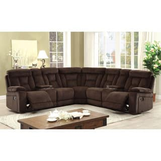 Furniture Of America Bristone Chenille Upholstered L Shaped Sectional 2 Options Available