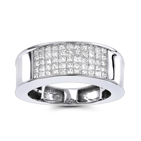 Luxurman 14K Gold Mens 1 carat Diamond Band Princess Cut 1.00ct