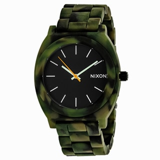 Nixon Women's A327-1428 Time teller Round Black dial Acetate Bracelet Watch