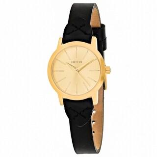 Nixon Women's A398-2143 Kenzi Round Gold dial Leather strap Watch