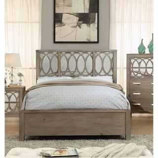 Furniture of America Suez Transitional Brown Solid Wood Panel Bed