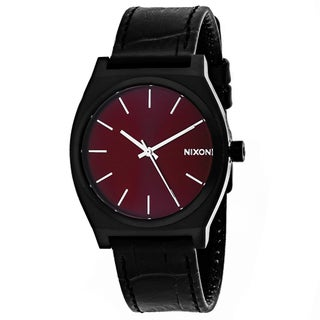 Nixon Men's A045-1886 Time teller Round Red dial Leather strap Watch