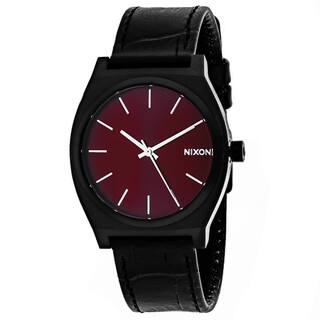 Nixon Men's A045-1886 Time teller Round Red dial Leather strap Watch|https://ak1.ostkcdn.com/images/products/12332196/P19163592.jpg?impolicy=medium