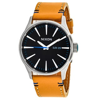 Nixon Men's A105-1602 Sentry Leather Round Black dial Leather strap Watch