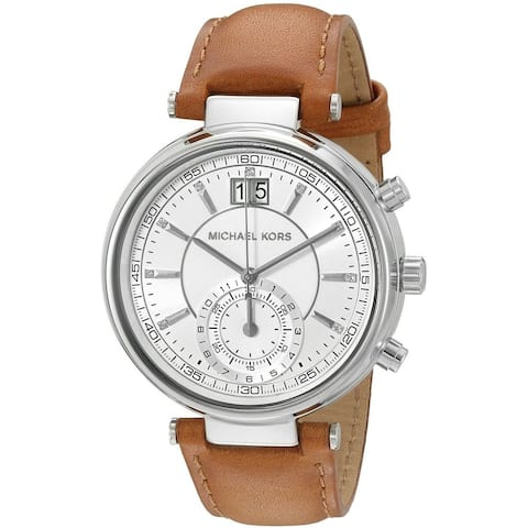 Michael Kors Women's 'Sawyer' Crystal Brown Leather Watch