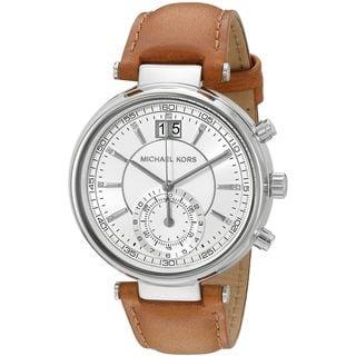 Michael Kors Women's MK2527 'Sawyer' Crystal Brown Leather Watch