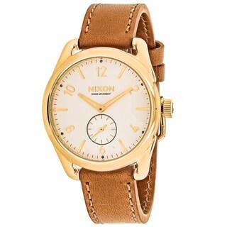 Nixon Men's A459-2227 C39 Round White dial Leather strap Watch