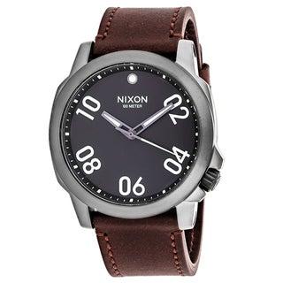 Nixon Men's A466-1099 Ranger 45 Round Grey dial Leather strap Watch