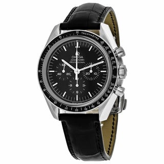 Omega Men's O31133423001002 Speedmaster Moonwatch Round Black dial Leather strap Watch